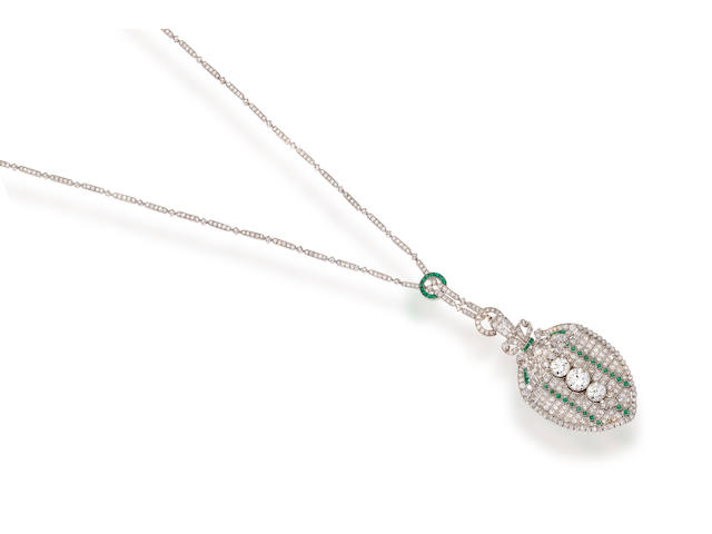 An art deco diamond and emerald pendant necklace,