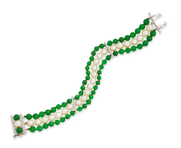A jadeite jade, cultured pearl and diamond bracelet