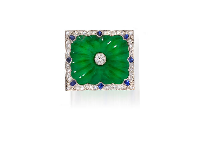 A jadeite jade, diamond and sapphire brooch
