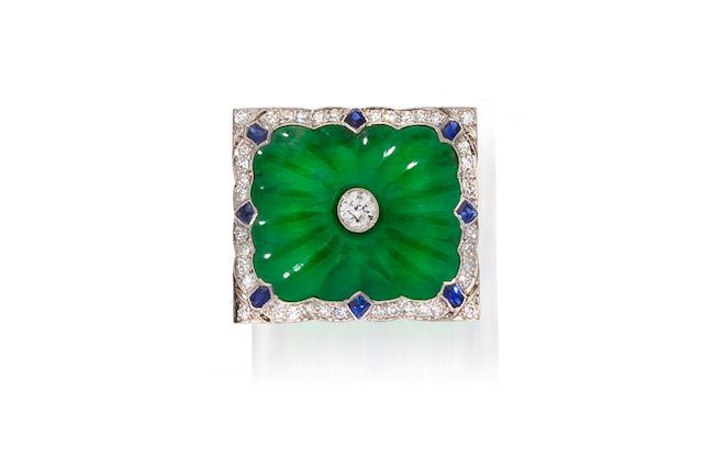 A jadeite jade, diamond and sapphire brooch