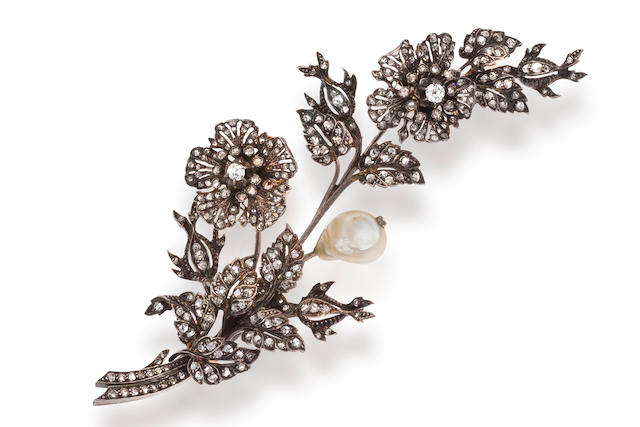An antique diamond en tremblant floral and foliate spray brooch,