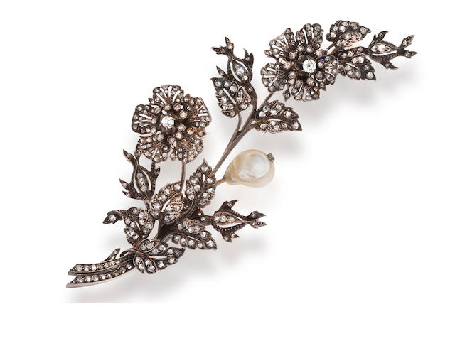 An antique diamond corsage brooch,