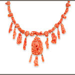An antique coral necklace,