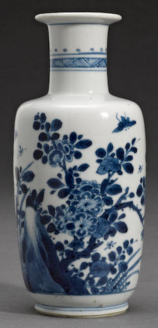A small blue and white porcelain rouleau vase Kangxi period