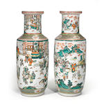 A pair of massive famille-verte porcelain vases with continuous scene of revelries in a manorial complex Late Qing Dynasty