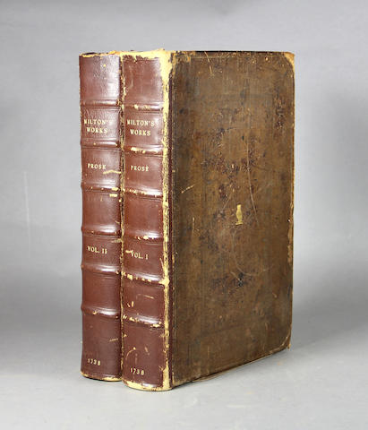 MILTON, JOHN. 1608-1674. A Complete Collection of the Historical, Political, and Miscellaneous Works. London: for A. Millar, 1738.