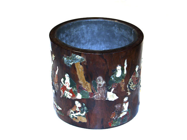 A huanghuali brush pot with hardstone inlay 18th/19th century, the inlay Late Qing/Republic period