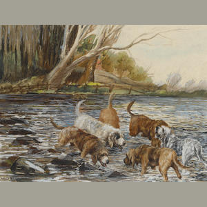 Reuben Ward Binks (British, 1880-1940) Six Otterhounds in a river