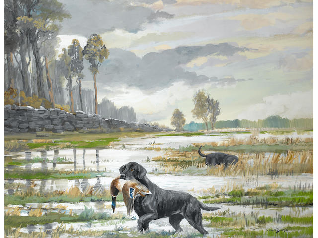 Reuben Ward Binks (British, 1880-1940) Black Retriever with duck