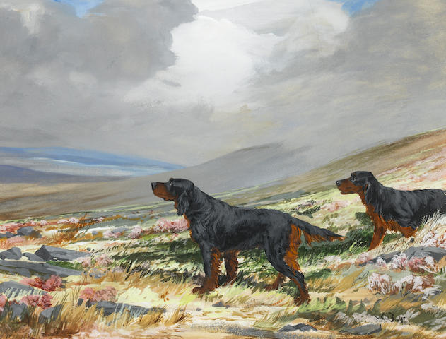 Reuben Ward Binks (British, 1880-1940) Gordon Setters in Highland landscape