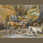 Reuben Ward Binks (British, 1880-1940) Four Otterhounds wading in a stream