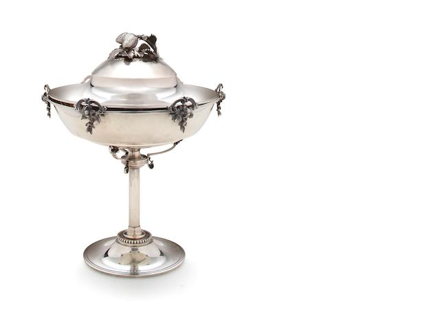 A silver compote with cover Gorham Mfg. Co., Providence, RI, circa 1870, retailed by J. W. Tucker & Co., San Francisco <br># 60