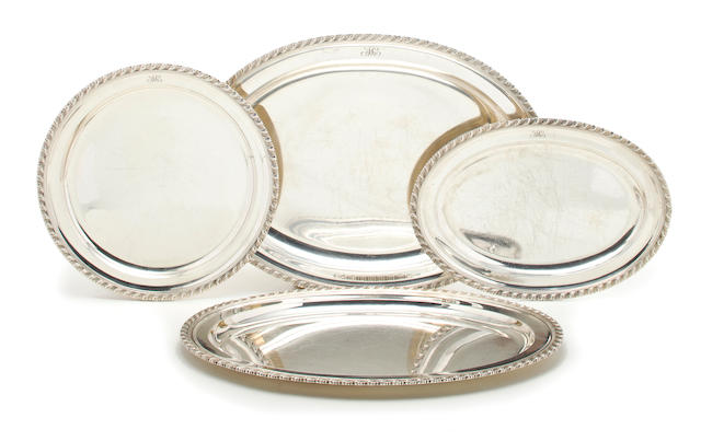 A sterling suite of four platters Tiffany & Co., New York, NY, circa 1907-1947 <br># 18864, 19960, 19962 and 19963; monogrammed: AC