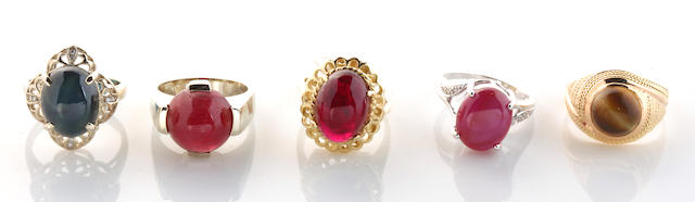 A collection of five gem-set, diamond, 14k white and yellow gold rings