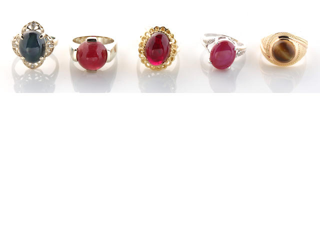 A group of five gem-set and diamond rings in 14k gold, 37g