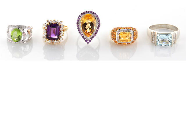 Five gem-set, diamond and 18k and 14k gold rings, 44.6g