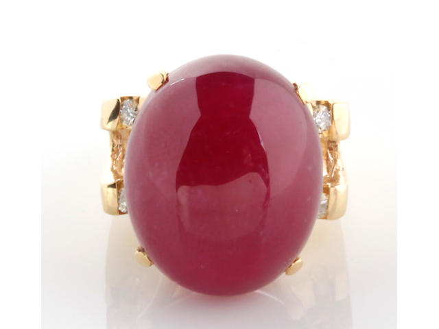 A ruby, diamond and 14k gold ring