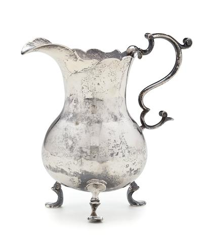 An American silver tripod cream pot Samuel Casey, South Kingstown, RI, circa 1750-60
