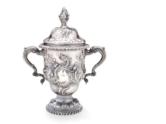 A George II silver cup and cover William Shaw & William Priest, London, 1755 <br>With later engraved crest and motto of Carrington family