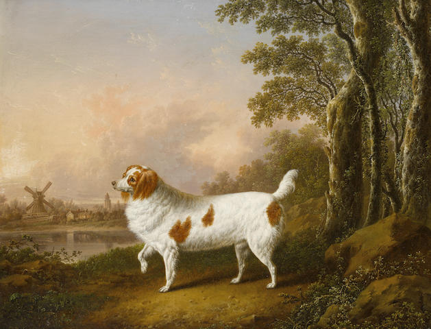 Charles Towne (Wigan 1763-1840 Liverpool) A liver and white Spaniel in a landscape 13 3/4 x 17 1/2 in. (35 x 44.5 cm.)