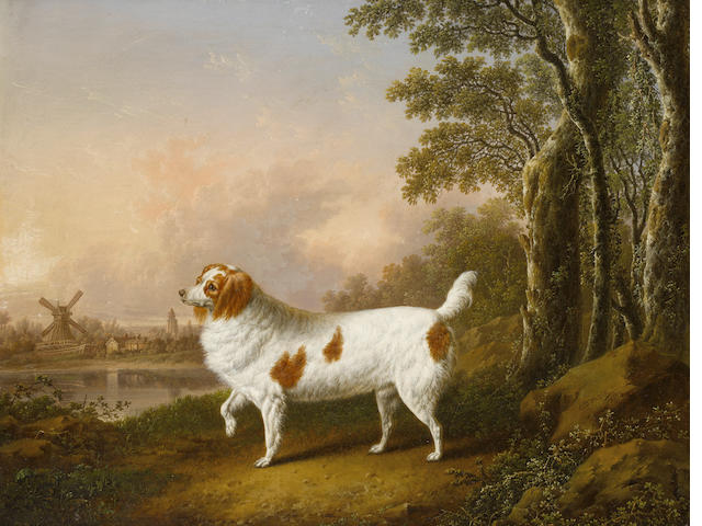 Charles Towne (Wigan 1763-1840 Liverpool) Spaniel in a landscape