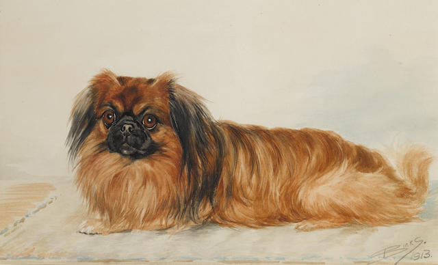 Reuben Ward Binks (British, 1880-1950) A Pekinese 11 3/8 x 18 7/8 in. (29 x 48 cm.)