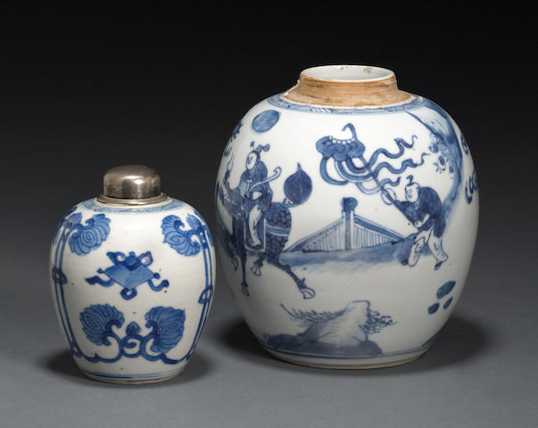 Two small blue and white porcelain jars