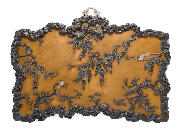 A fine hardstone inlaid panel of kingfisher and wisteria, Late Qing