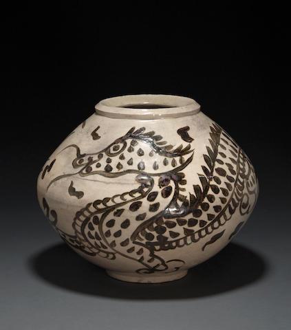 An underglaze iron-decorated porcelain jar Joseon dynasty, 19th century