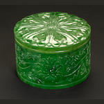 A spinach jade covered circular box 20th century