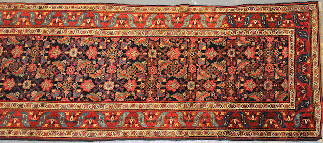 A Bidjar runner (has been reduced) size approximately 3ft. 7in. x 14ft. 7in.