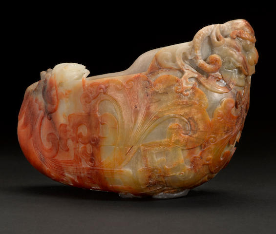 A large archaistic  nephrite pebble-shaped vessel Qing dynasty