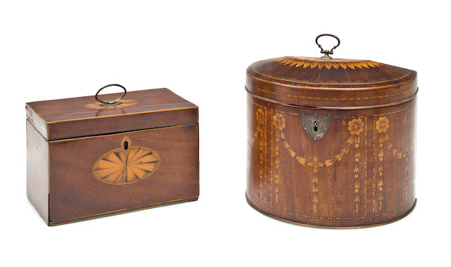 Two early classical line inlaid mahogany caddies