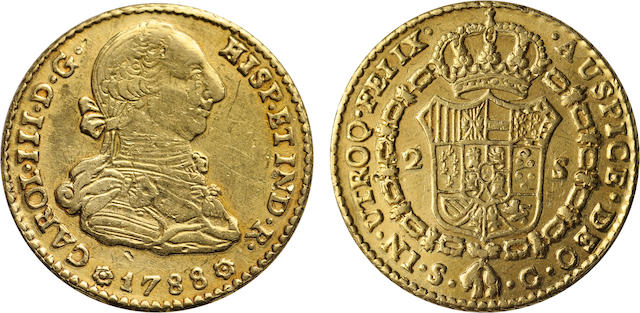 Spain, Charles III, 2 Escudos, 1788-C, Seville