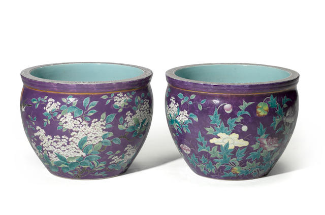 A pair of purple ground  enameled porcelain jardinieres with flower and bird decoration Da ya zhai marks, Republic period