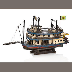 "A paddlewheet folk art boat model ""Sunflower"""