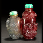 A two-color tourmaline 'double' bottle 1850-1900