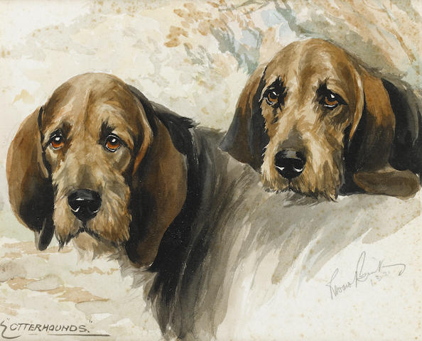 Reuben Ward Binks (British, 1880-1950) Otterhounds 9 1/8 x 11 in. (23 x 28 cm.)