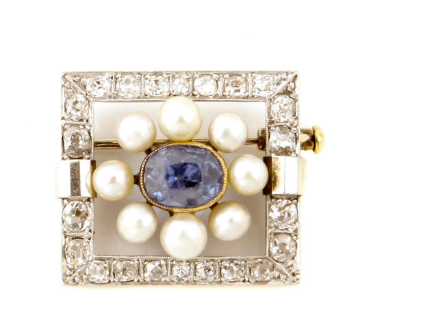 A sapphire, cultured pearl and platinum-topped gold square brooch