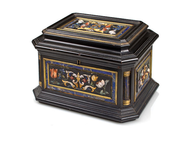 An Italian Baroque-style carved hardstone and ebonized casket<br>late 19th century