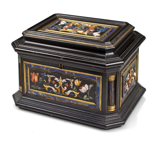 An Italian Baroque style carved hardstone and ebonized casket late 19th century