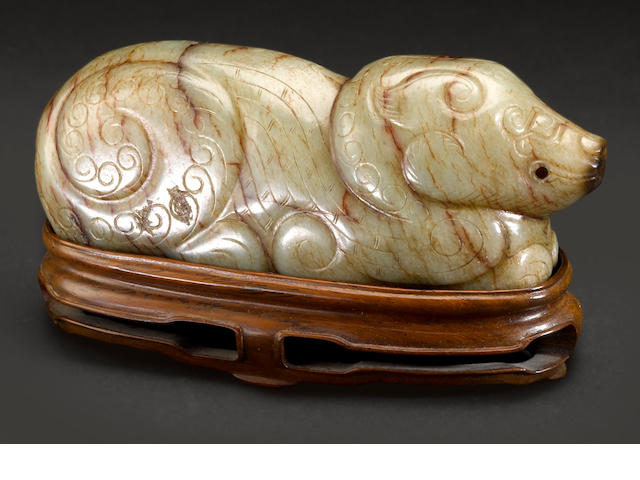 A jade carving of a recumbent bear  Ming dynasty