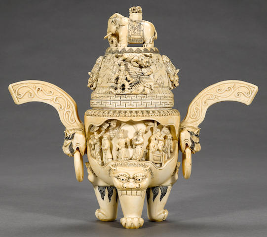 A carved and pieced ivory covered censer Late Qing dynasty
