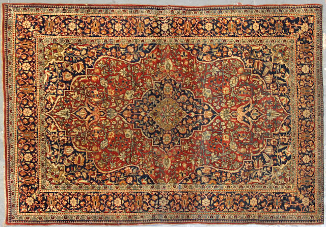 A Mohtasham Kashan rug size approximately 3ft. 4in. x 4ft. 9in.