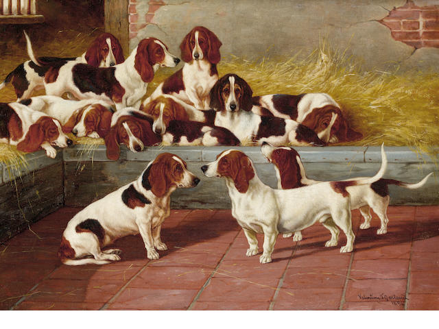 Valentine Thomas Garland (British, fl.1884-1903) A pack of Basset Hounds 16 1/8 x 22 1/8 in. (41 x 56 cm.)