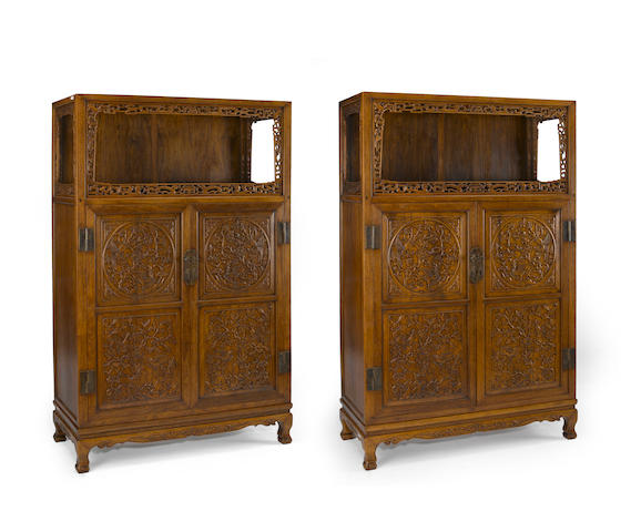 A pair of huanghuali open-shelf storage cabinets Late 20th century