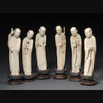 A group of six carved ivory figures of the 'eighteen luohan'