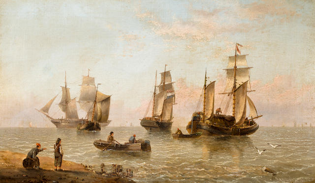 Henry Redmore (British, 1820-1887) Dutch vessels along the shore 12 x 20 in. (30.5 x 50.8 cm.)