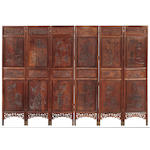 A mixed hardwood 6 panel floor screen with well carved figural decoration <br>Late Qing/Republic Period