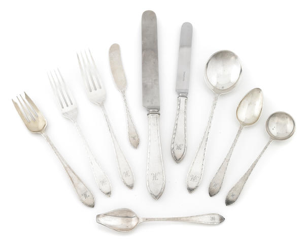 A Tiffany & Co.  sterling silver  'Feather Edge' part flatware service for twelve First half 20th century